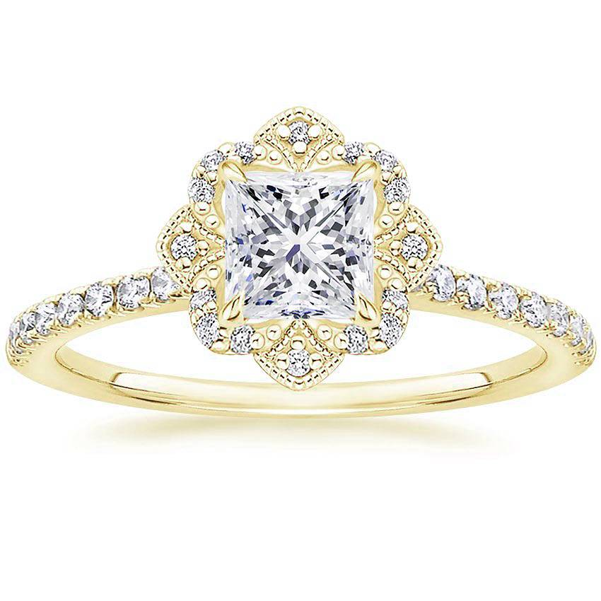 Royal Crown Halo Princess Diamond Ring Yellow Gold
