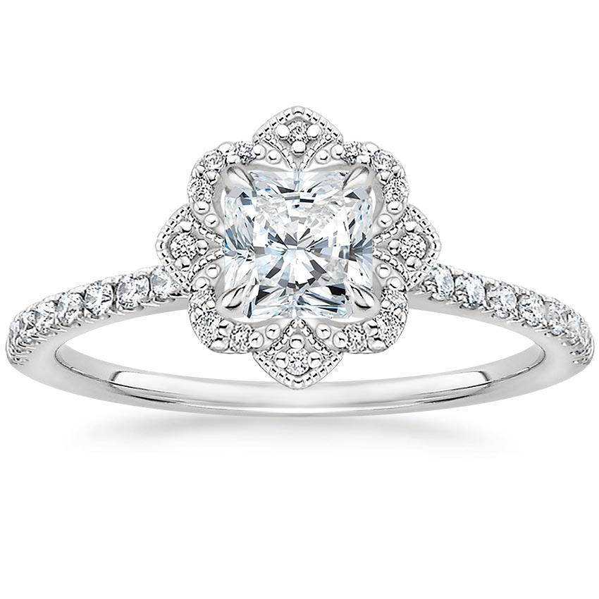 Radiant Royal Crown Halo Engagement Ring