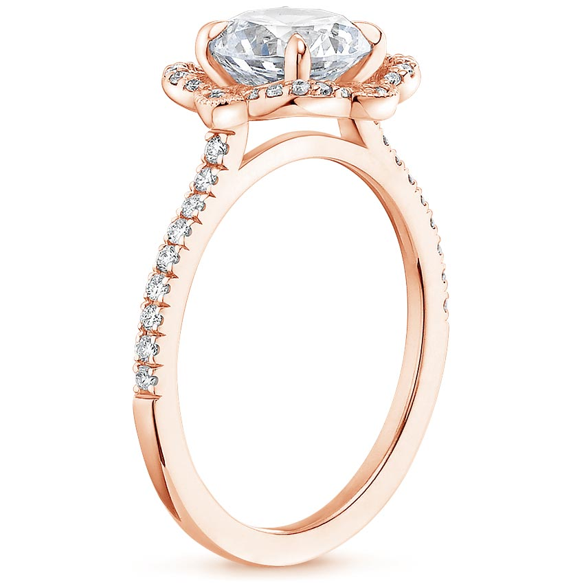 Royal Crown Halo Emerald Diamond Ring Rose Gold