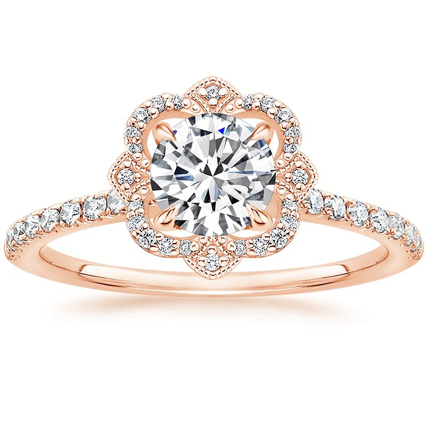 Royal Crown Halo Diamond Ring Rose Gold