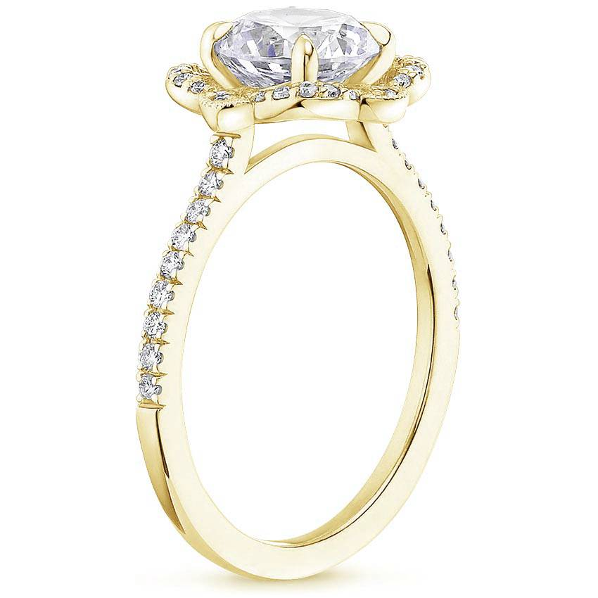 Royal Crown Halo Radiant Diamond Ring Yellow Gold