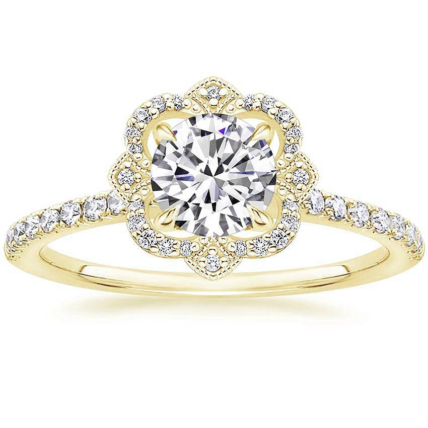 Royal Crown Halo Diamond Ring Yellow Gold