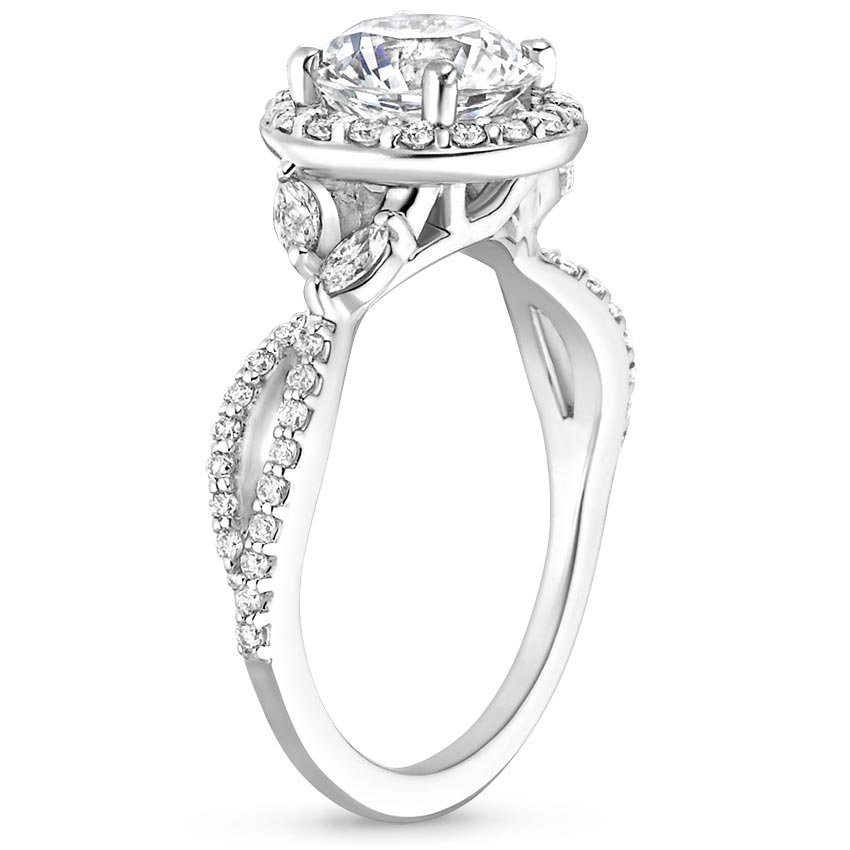 Cushion Floral Vine Halo Engagement Ring