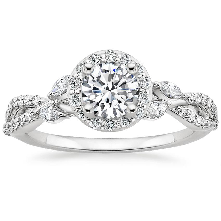 Floral Vine Halo Engagement Ring