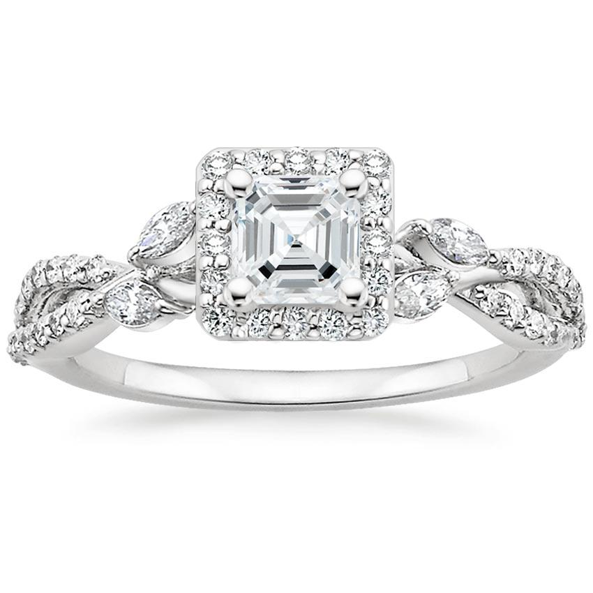 Asscher Floral Vine Halo Engagement Ring