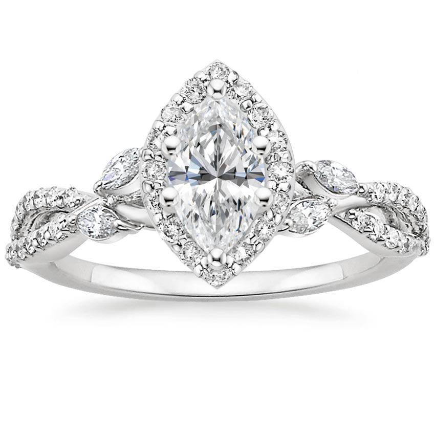 Marquise Floral Vine Halo Engagement Ring