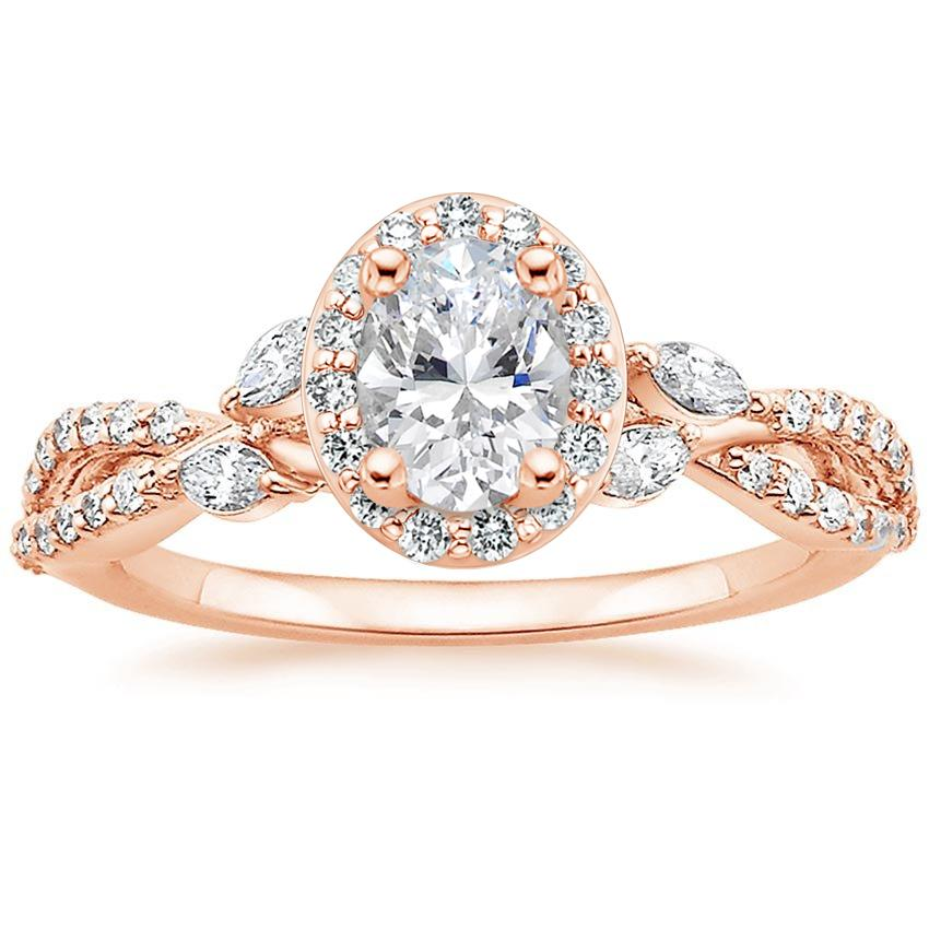 Floral Vine Halo Oval Diamond Ring Rose Gold