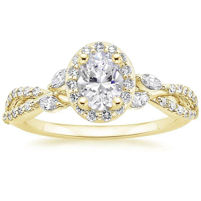 Floral Vine Halo Oval Diamond Ring Yellow Gold