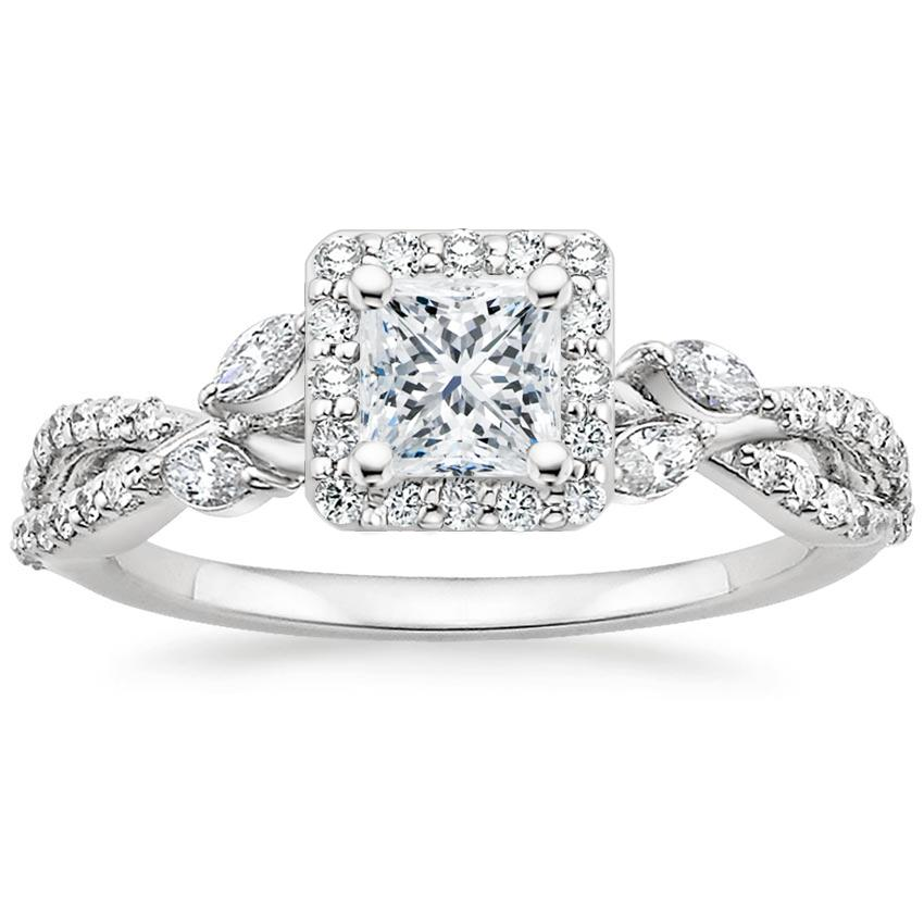 Princess Floral Vine Halo Engagement Ring