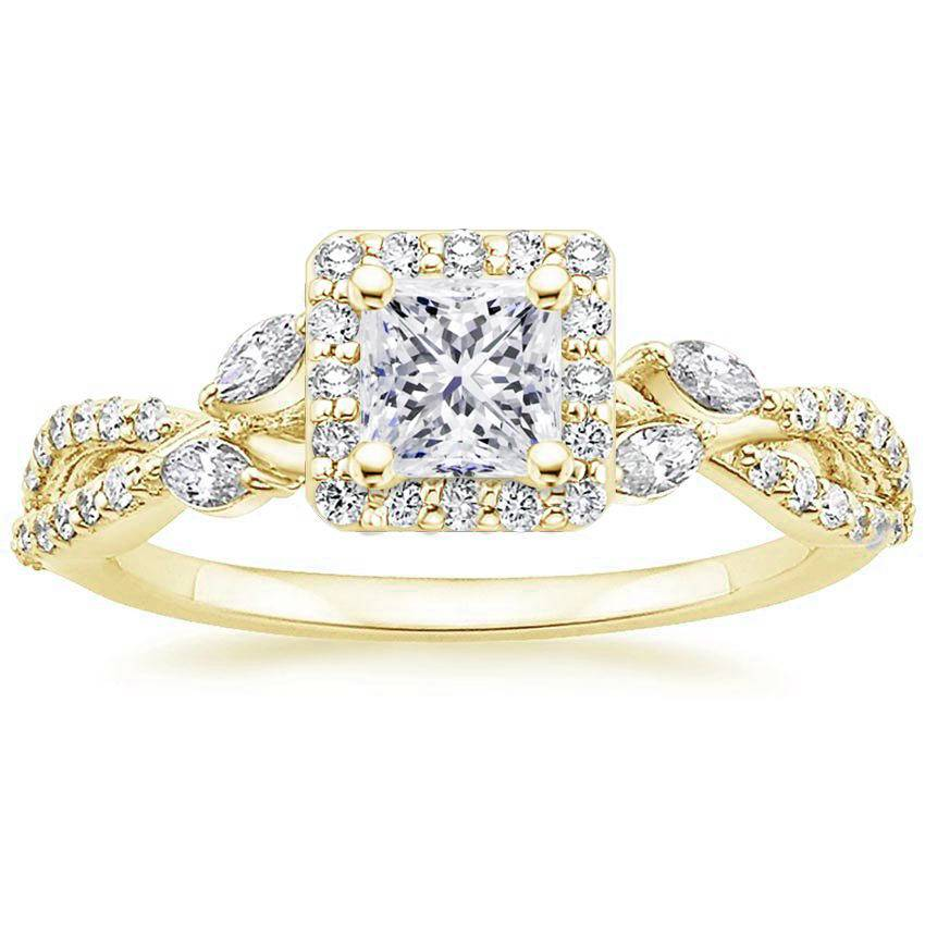 Floral Vine Halo Princess Diamond Ring Yellow Gold