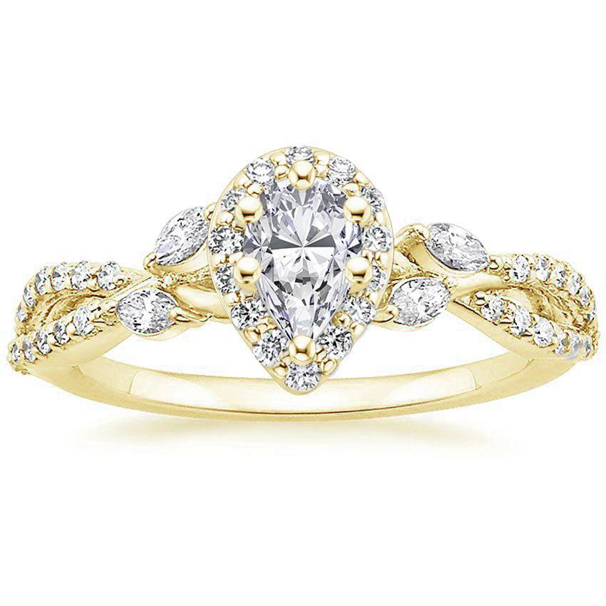Floral Vine Halo Pear Diamond Ring Yellow Gold