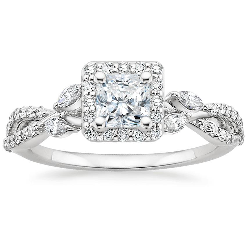 Radiant Floral Vine Halo Engagement Ring