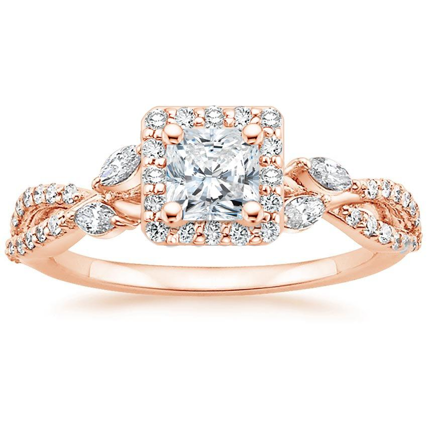 Floral Vine Halo Radiant Diamond Ring Rose Gold