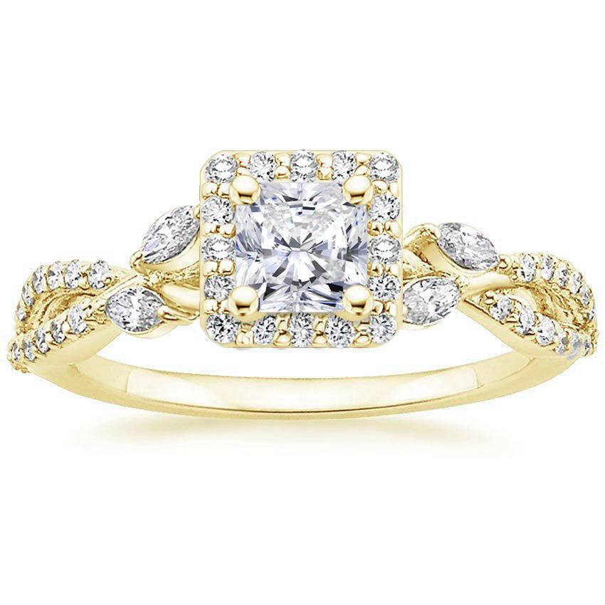Floral Vine Halo Radiant Diamond Ring Yellow Gold