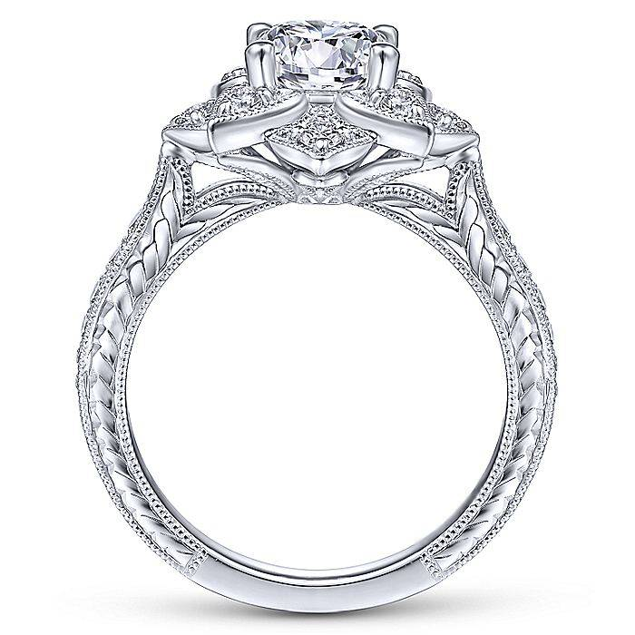Lotus Flower Diamond Halo Engraved Engagement Ring