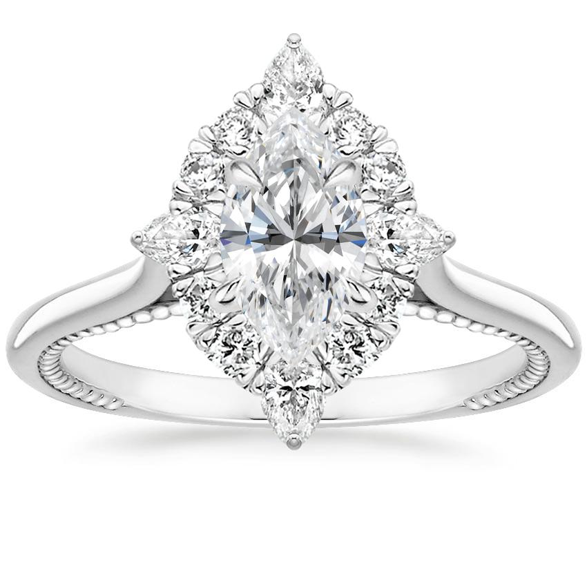 Floral Marquise Diamond Compass Halo Engagement Ring