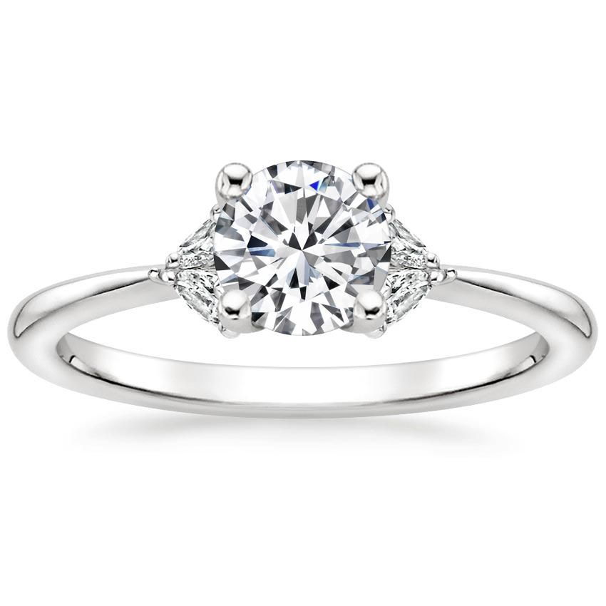 Floral Round Diamond Engagement Ring