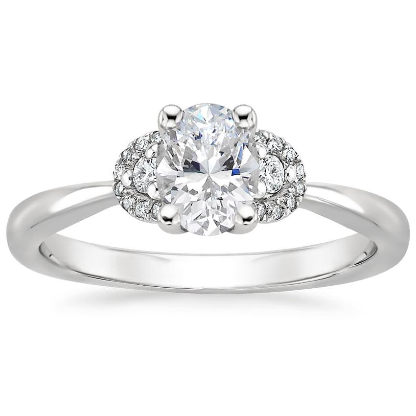 Half Moon Halo Oval Diamond Engagement Ring