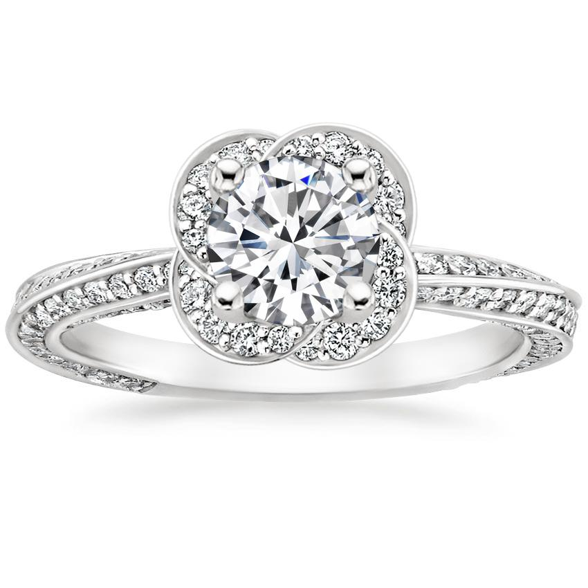 Floral Halo Swirl Diamond Engagement Ring