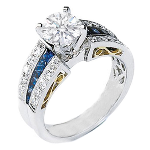 Handcrafted Gold and Platinum Diamond and Sapphire Heirloom Engagement Ring Setting 1 carat