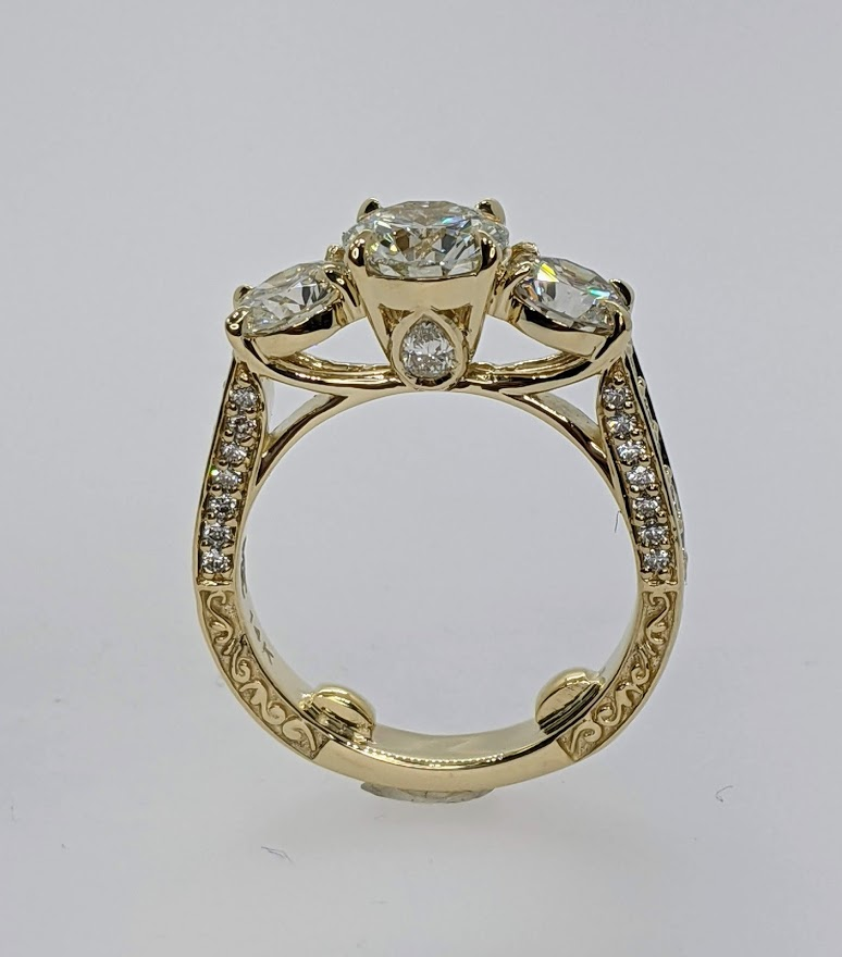3 Stone Engraved Round Diamond Ring Yellow Gold