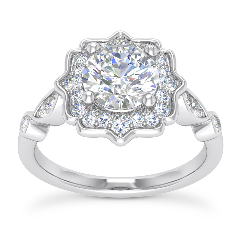 Floral Halo Swing Engagement Ring