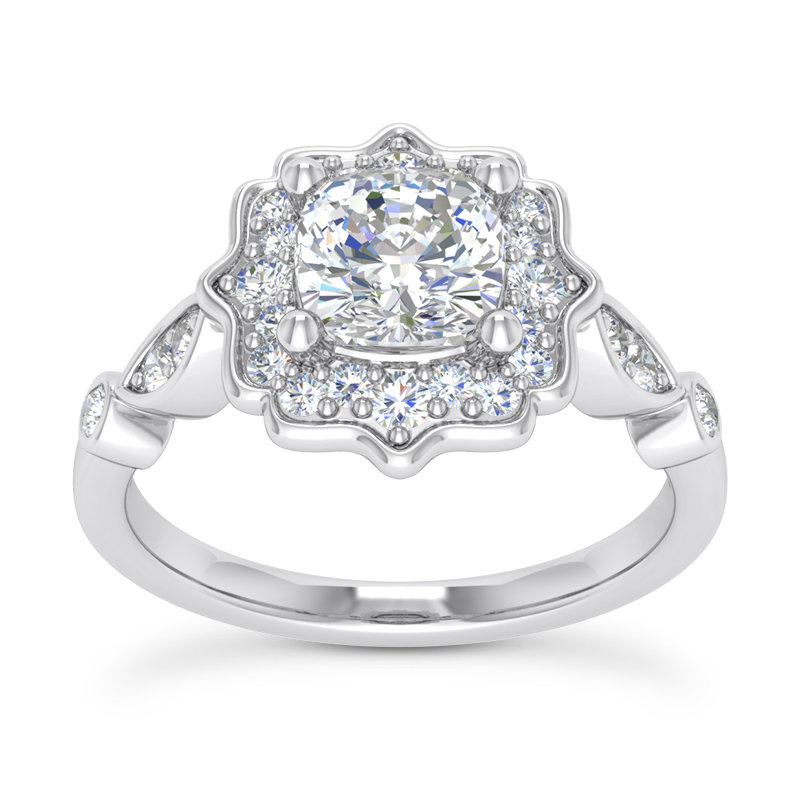 Floral Halo Swing Cushion Engagement Ring