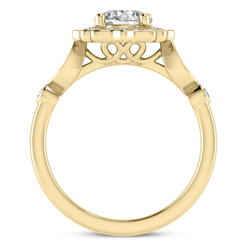 Floral Halo Swing Engagement Ring Yellow Gold