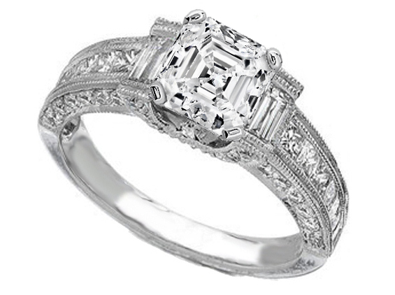 Vintage Asscher Cut Diamond Engagement Ring 1 tcw. In Platinum