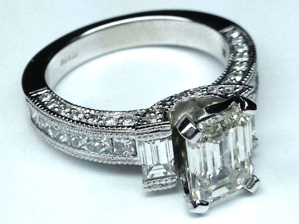 Engagement Ring Vintage Emerald Cut Diamond Engagement Ring 1 11 tcw In Pla
