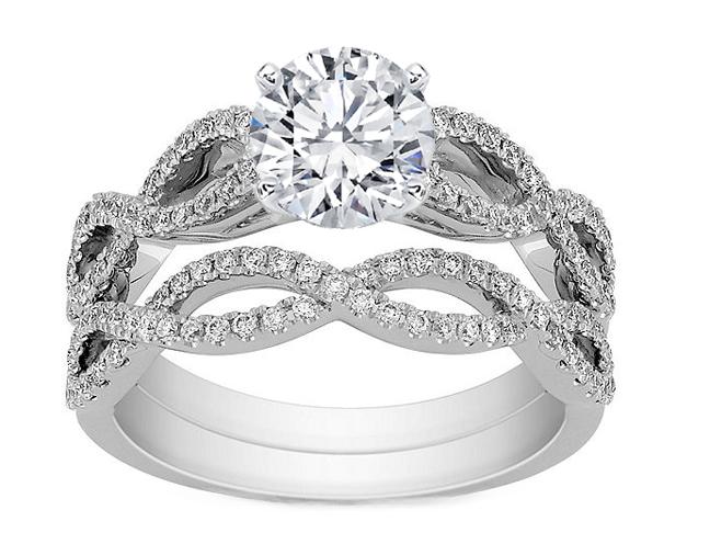enement ring infinity bridal set matching - Infinity Wedding Ring Set