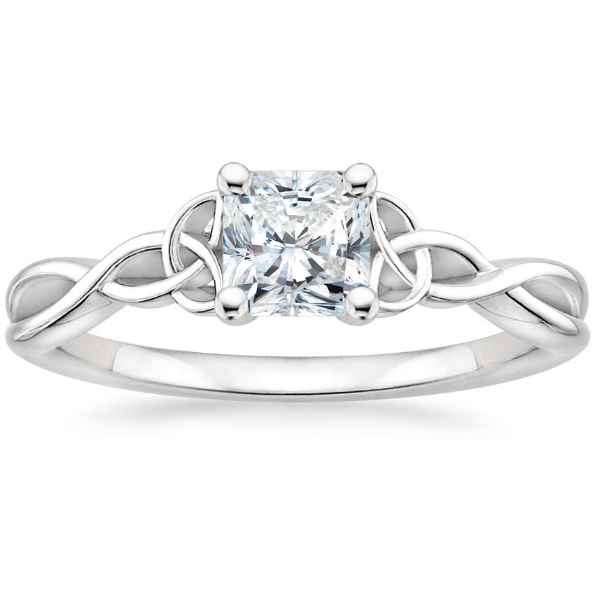 Intertwined Celtic Radiant Solitaire Ring
