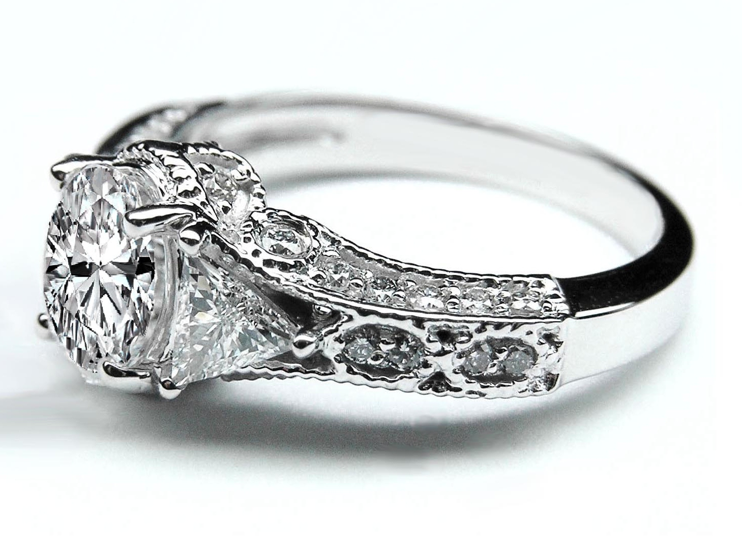 Engagement Ring Vintage Style Oval Diamond Engagement Ring 072 Tcw In  White Goldes262
