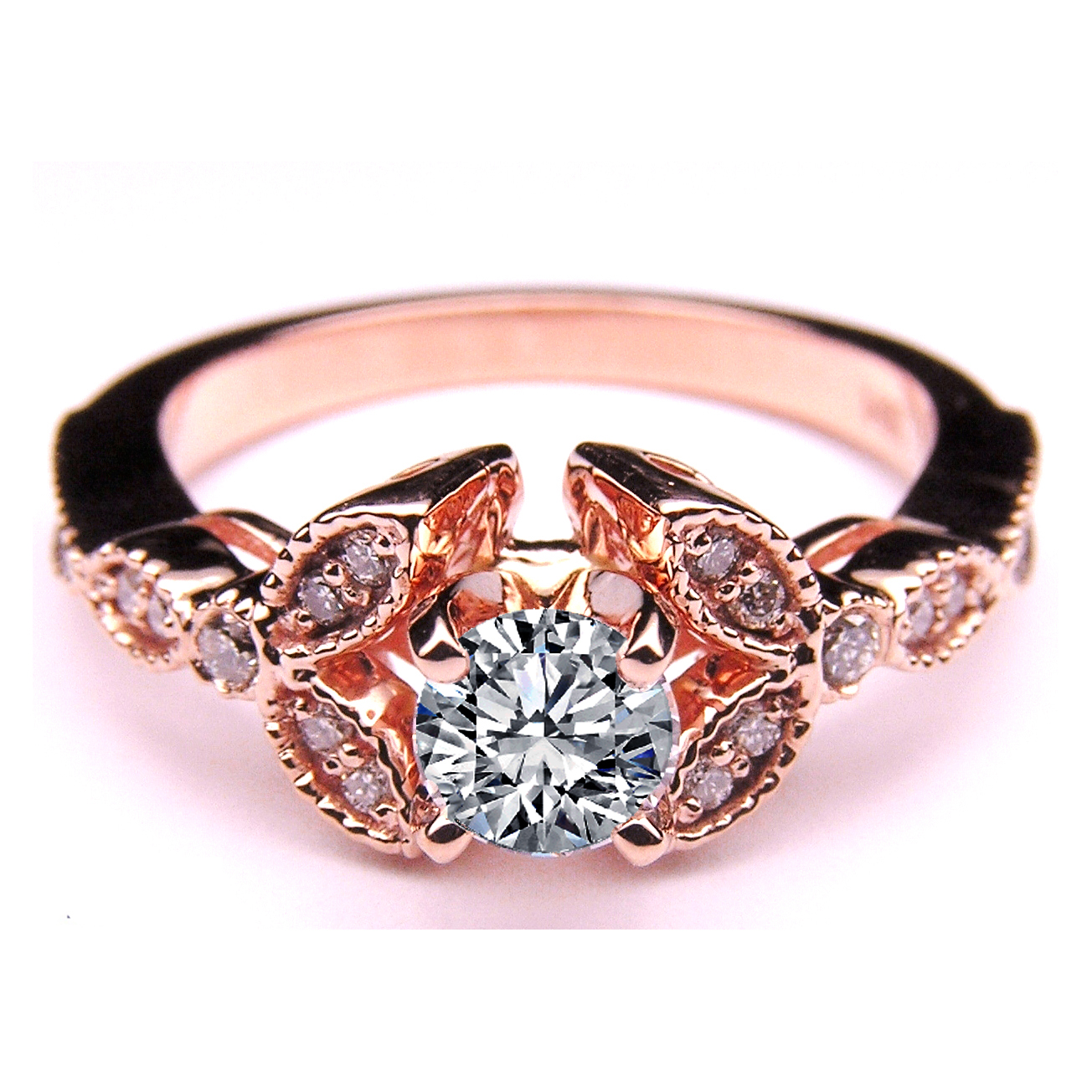 Floral Vintage Diamond Engagement Ring 0.2 tcw. In 14K Rose Pink Gold