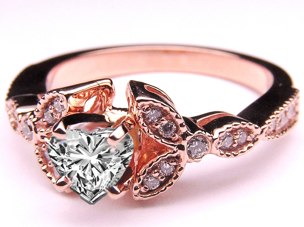Floral Vintage Heart Shape Diamond Engagement Ring 0.2 tcw. In 14K Rose Pink Gold