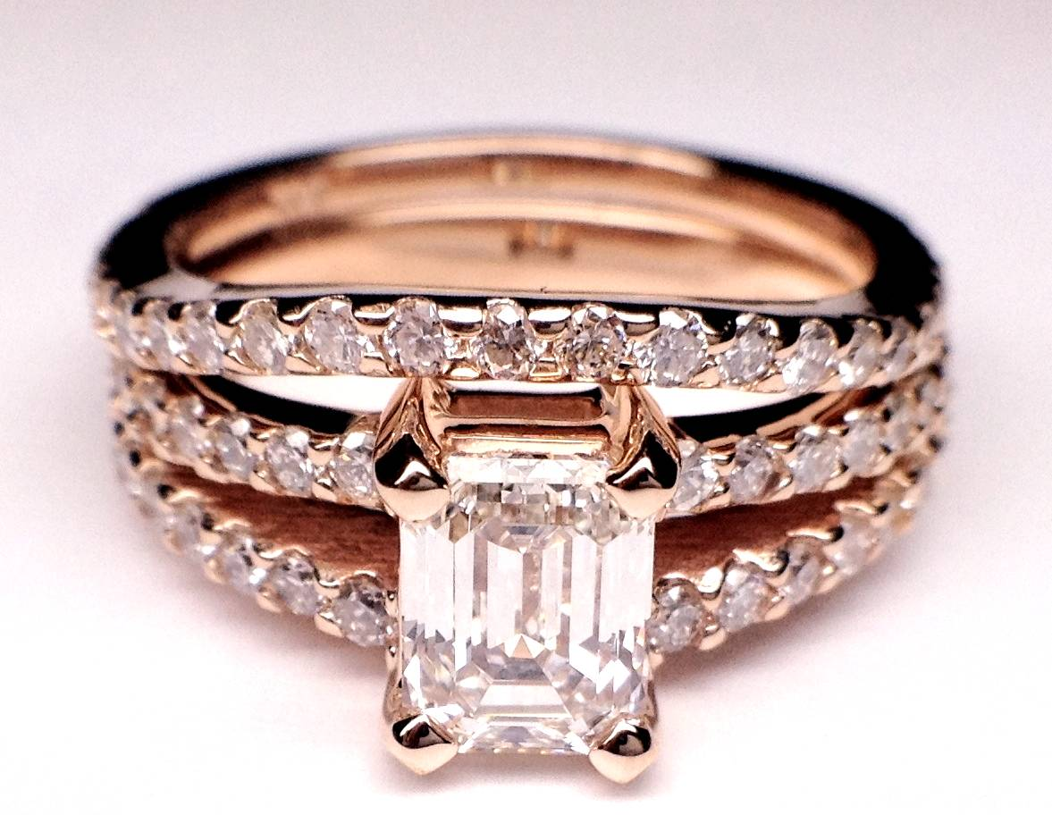 Pink Gold Emerald Cut Diamond Split Band Engagement Ring  & Matching Wedding Band, 0.91 tcw.