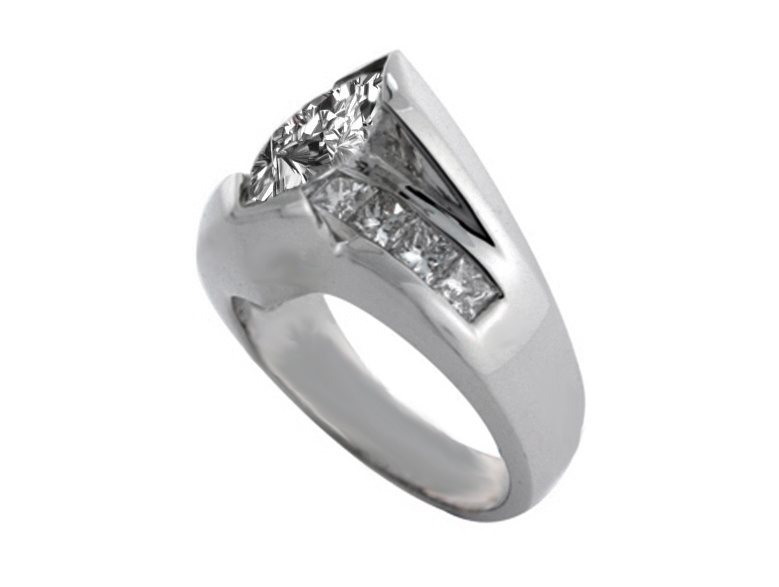 Marquise Diamond Bridge Engagement Ring Setting in 14K White Gold 1.00 tcw.