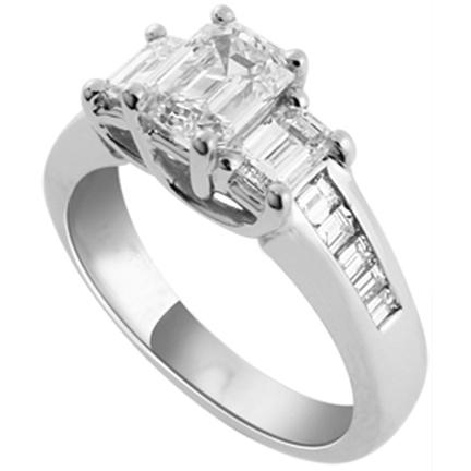 Emerald Cut Wedding Ring Set 77 Superb Emerald cut diamond engagement