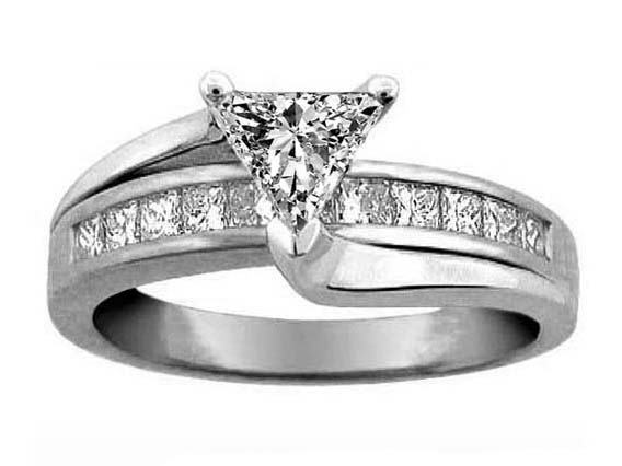 Engagement Ring Trillion Diamond Bridge Engagement Ring in 14K