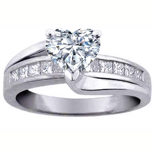 Heart Diamond Bridge Engagement Ring 0.59 tcw.