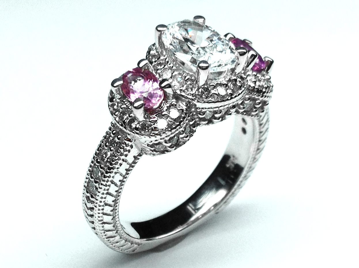 In Three Stone Oval Diamond Vintage Engagement Ring With Pink Shires Side Stones 1 30 Tcw