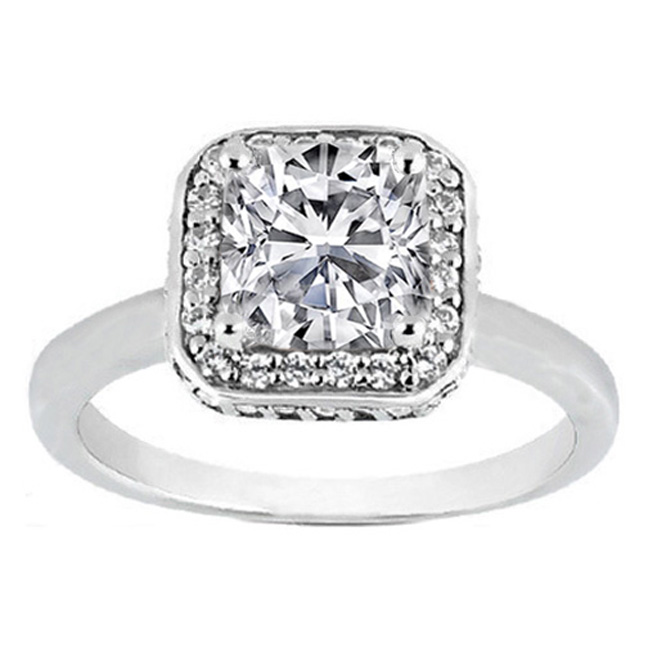 Cushion Cut Diamond Double Halo with Crown Engagement Ring 0.31 tcw. 14K White  Gold