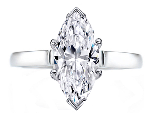 Marquise Diamond Solitaire Contour Engagement Ring in 14K White Gold