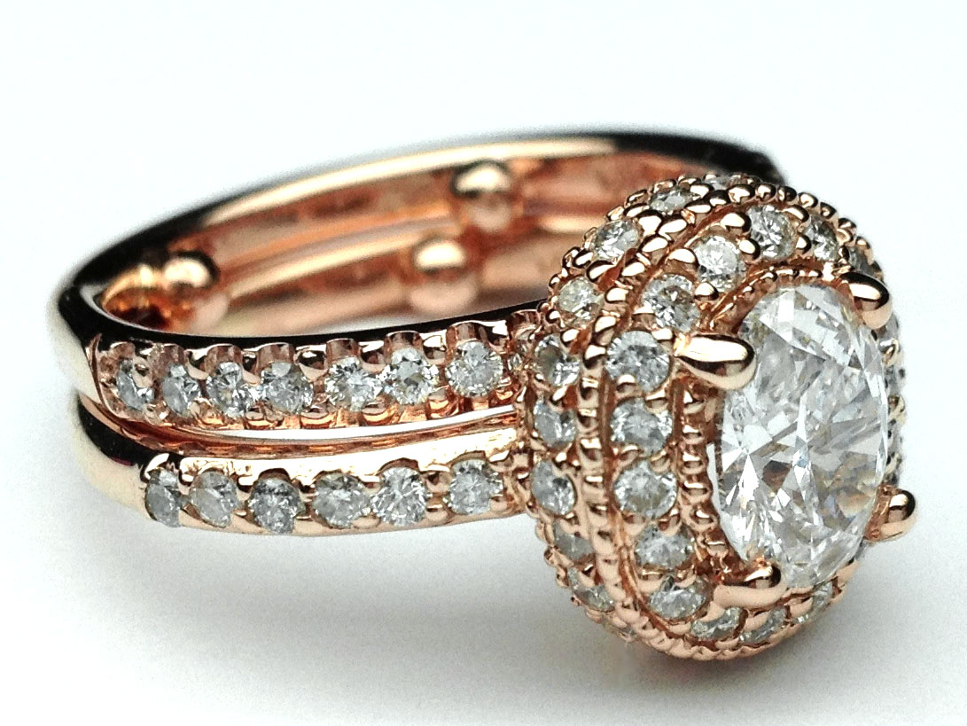 Pink Gold Oval Diamond Double Halo Engagement Ring & Matching Wedding Ring
