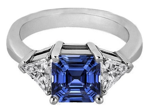 Asscher Blue Sapphire & Trillion Diamond Liz Hurley Engagement Ring in 14K White Gold 0.30 tcw.