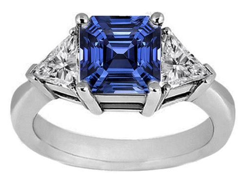 Asscher Blue Sapphire & Trillion Diamond Liz Hurley Engagement Ring