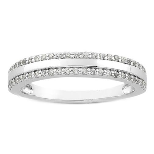 Round Diamond Pav Set Ladies Wedding Ring 025 tcw In 14K White Gold