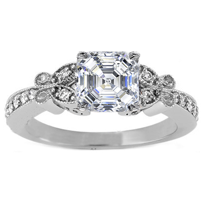 Asscher Diamond Butterfly Vintage Engagement Ring
