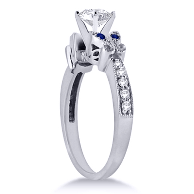 Blue Eyes Butterfly Engagement Ring & Matching Wedding Band