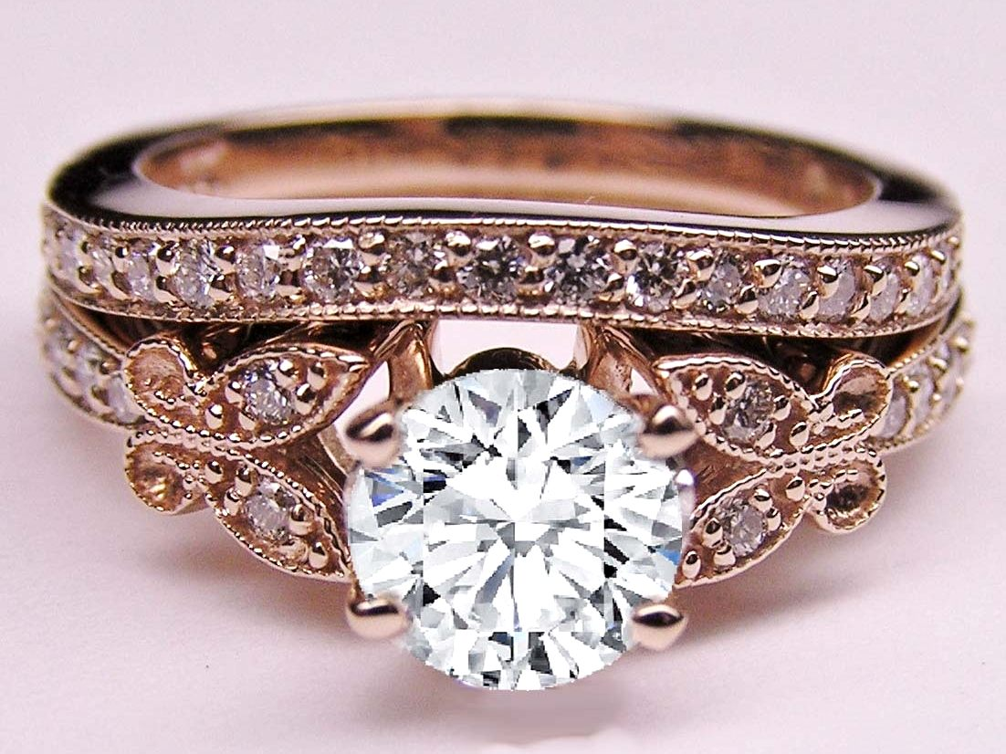 diamond butterfly vintage engagement ring matching wedding band 037 tcw in rose gold - Butterfly Wedding Rings